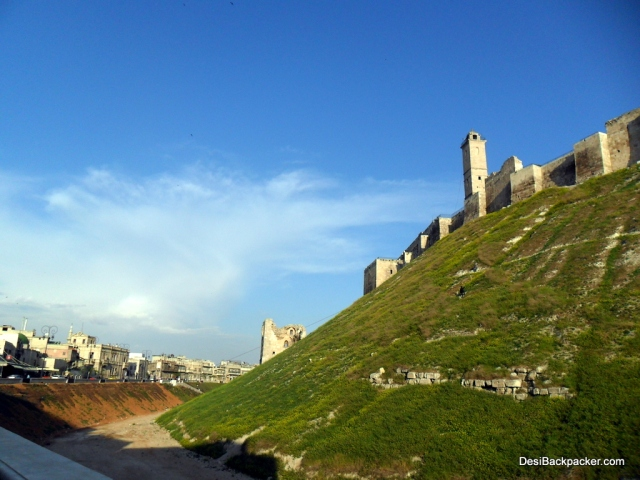 A side view of Aleppo's Citadel