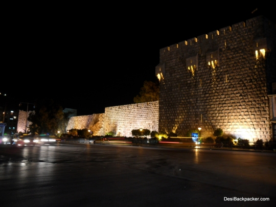 Walls of the Damascus Citadel at night